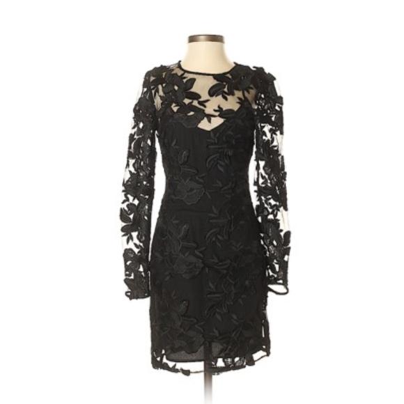 Topshop Dresses & Skirts - Topshop Applique Black Lace Mini Dress NWT!